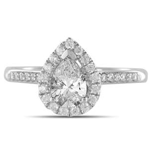 Pear Halo Diamond Engagement Rings