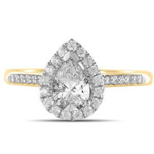 18ct Yellow Gold Pear Shaped Halo Engagement Rings
