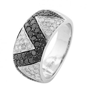 Image for Zig Zag Patterned Black & White Diamond Ring