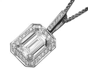 Emerald Cut Halo Diamond Pendants