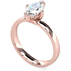 18ct Rose Gold Marquise Cut Diamond Solitaire Engagement Rings