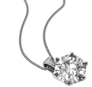 Round 18ct White Gold Solitaire Diamond Necklaces