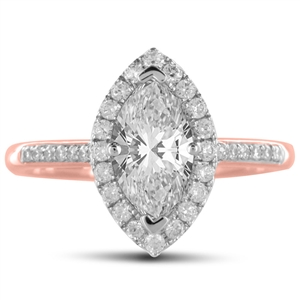 18ct Rose Gold Marquise Cut Halo Engagement Rings