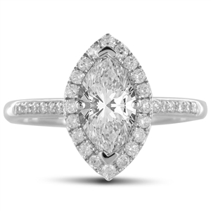 18ct White Gold Marquise Cut Halo Engagement Rings