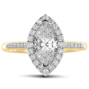 18ct Yellow Gold Marquise Cut Halo Engagement Rings