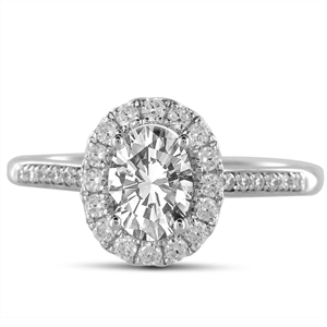 18ct White Gold Oval Cut Diamond Halo Engagement Rings