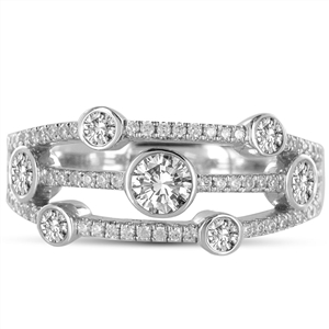 Image for 3 Row Round Diamond Bubble Dress Ring