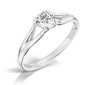 Image for Unique Split Band Round Diamond Solitaire Ring