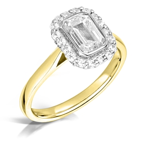 Image for Modern Emerald Diamond Single Halo Ring