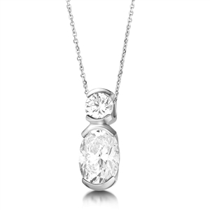 Image for Oval & Round Diamond Designer Pendant