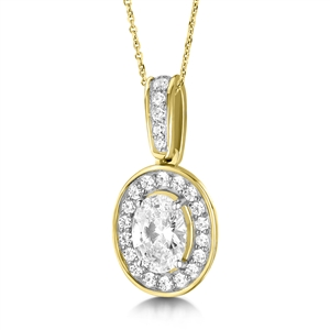 Image for Oval Diamond Single Halo Pendant