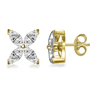 18ct Yellow Gold Designer Marquise Diamond Earrings