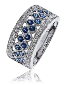 Image for 1.10CT Blue Sapphire & Diamond Half Eternity/Dress Ring