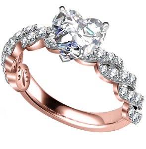 Image for Embellished Twist Heart Diamond Vintage Plait Ring
