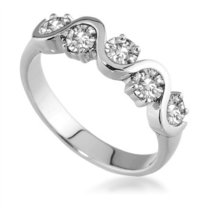 Image for Five Stone Round Diamond Half Eternity Ring