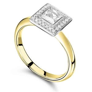 Image for Elegant Princess Diamond Halo Ring