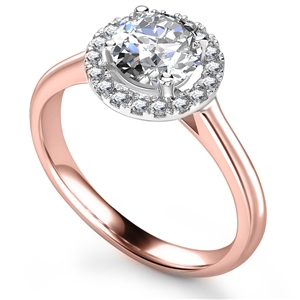 Image for Elegant Round Diamond Single Halo Ring
