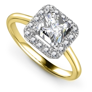 Image for Elegant Princess Diamond Single Halo Ring