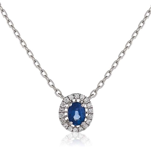 Image for Oval Shaped Blue Sapphire & Diamond Pendant