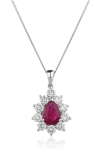 Image for Pear Shaped Ruby & Diamond Pendant