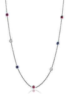 Image for Round Diamond, Blue Sapphire & Ruby Necklace