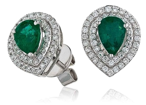 Image for Pear Shaped Emerald & Diamond Earrings