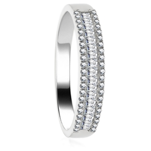 Image for 1.10CT Round & Baguette Diamond Multi Row Dress Ring