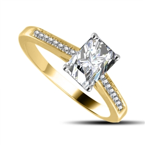 Image for Emerald Diamond Shoulder Set Ring