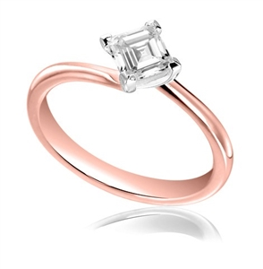 18ct Rose Gold Asscher Cut Diamond Solitaire Engagement Rings