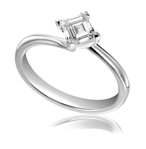 18ct White Gold Asscher Cut Diamond Solitaire Engagement Rings