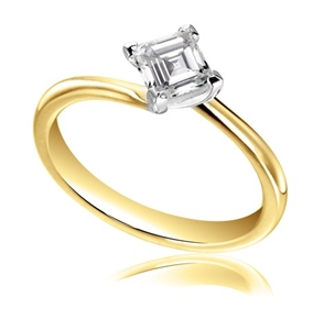 18ct Yellow Gold Asscher Cut Diamond Solitaire Engagement Rings