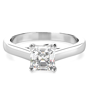 Asscher Solitaire Diamond Rings