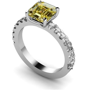 Asscher Cut Yellow Diamond Rings