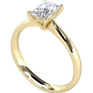 18ct Yellow Gold Radiant Cut Diamond Solitaire Engagement Rings