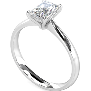 Palladium Radiant Cut Diamond Solitaire Engagement Rings