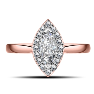 Image for Marquise & Round Diamond Single Halo Ring