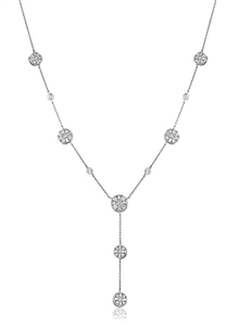 Image for Modern Round & Baguette Diamond Drop Necklace