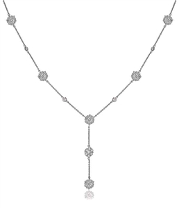 Image for Modern Encrusted Round Diamond Drop Necklace