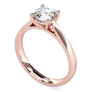 18ct Rose Gold Cushion Shape Solitaire Engagement Rings