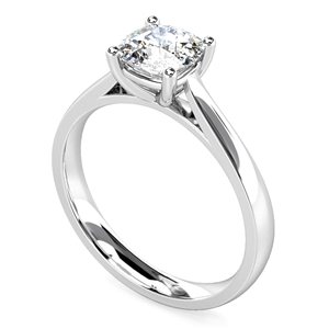 Platinum Cushion Shape Diamond Solitaire Engagement Rings