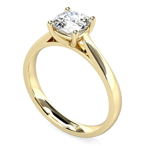 18ct Yellow Gold Cushion Shape Solitaire Engagement Rings