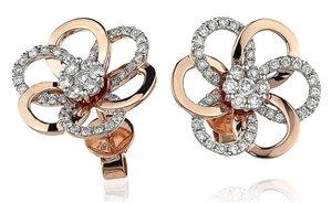 Image for Unique Round Diamond Designer Knot Earrings
