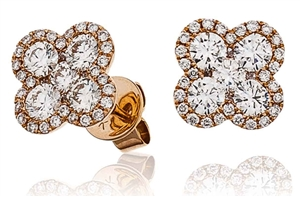 Buy 18ct Rose Gold Cluster Diamond Earrings