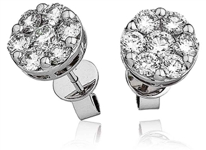 Image for 1.50CT Classic Round Diamond Cluster Earrings