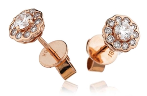 18ct Rose Gold Halo Diamond Earrings