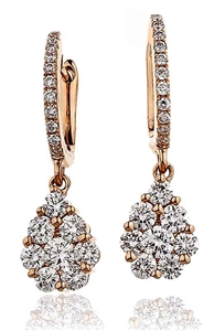 Image for Modern Round Diamond Cluster Drop Earrings