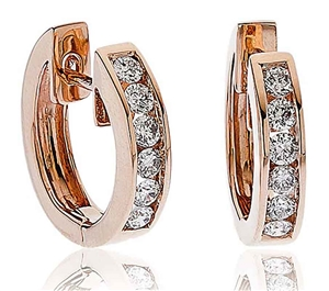 Image for Classic Round Diamond Hoop Earrings