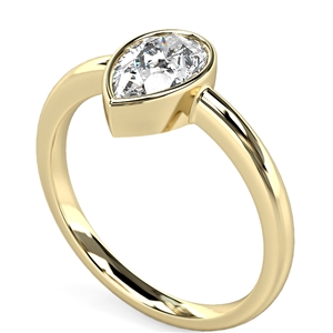 Image for Modern Rubover Pear Diamond Engagement Ring