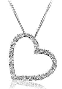 Image for Classic Round Diamond Heart Pendant