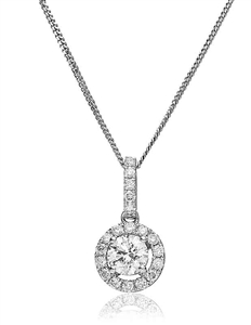 Image for Pave Set Round Diamond Single Halo Pendant